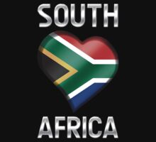 South Africa - South African Flag Heart & Text - Metallic by graphix