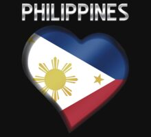 Philippines - Filipine Flag Heart & Text - Metallic by graphix