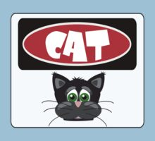 CARTOON CAT FACE, FUNNY DANGER STYLE FAKE SAFETY SIGN Kids Clothes