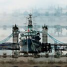 HMS Belfast On The Thames, London England by Val  Brackenridge