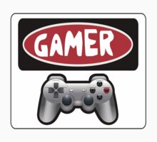 GAMER: RETRO PLAYSTATION STYLE CONTROLLER, FUNNY DANGER STYLE FAKE SAFETY SIGN by DangerSigns