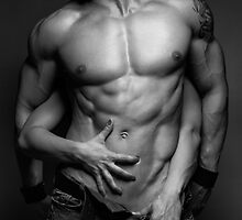 Woman hands touching muscular man's body art photo print by ArtNudePhotos