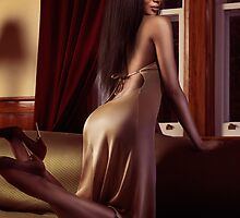 Beautiful sexy black woman near a window art photo print by ArtNudePhotos