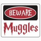BEWARE: MUGGLES, FUNNY DANGER STYLE FAKE SAFETY SIGN by DangerSigns