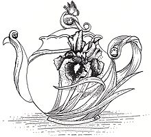 Iris Teapot - Black and White by AimeeSmith