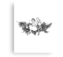 Victorian Children At Christmas Time, Sitting on a Christmas Garland. Canvas Print
