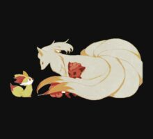 Ninetails, Vulpix and Fennekin by Kiwishes