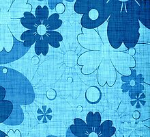 Vintage Blue Flower with Wood Grain by Nhan Ngo