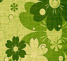 Vintage Green Flower with Wood Grain by Nhan Ngo