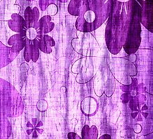 Vintage Violet Flower with Wood Grain by Nhan Ngo
