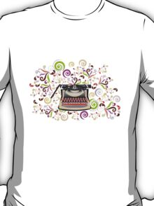 Creative typewriter in retro style with colorful swirls T-Shirt