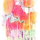 Colorful pink, orange, red  tulip flowers digital artistic sketch. Floral garden plant photo art. by naturematters