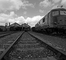 Didcot Railway Yard B&W by Simon Lawrence