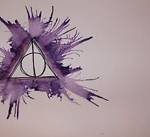 Deathly Hallows Watercolor by Amber Batten