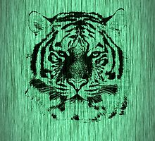 Tiger on Green Wood Grain 2  by Nhan Ngo