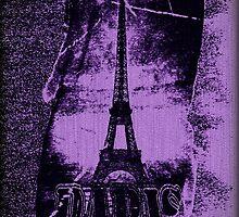 Vintage Violet Paris Eiffel Tower  by Nhan Ngo