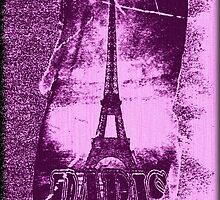 Vintage Purple Paris Eiffel Tower  by Nhan Ngo
