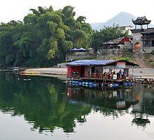 A Village Along The Li River, Yangshuo, China. by Ralph de Zilva