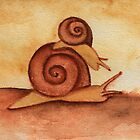 Two Snails in Watercolor by Katrina Larock