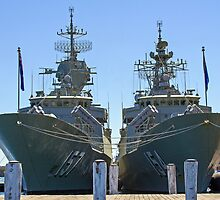 HMAS Parramatta (FFH 154) and HMAS Perth (FFH 157) by Doug Cliff