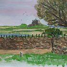 LINDISFARNE CASTLE, WATERCOLOUR by GEORGE SANDERSON
