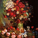 Vase with Poppies, Cornflowers, Peonies and Chrysanthemum. Vincent van Gogh.  by naturematters