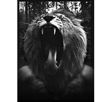 Lion Man - Black & White - Collage Photographic Print
