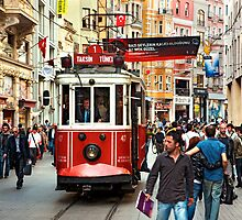 The famous red tram of Istiklal by Hercules Milas