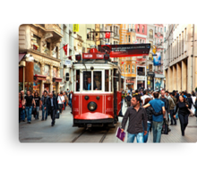 The famous red tram of Istiklal Canvas Print
