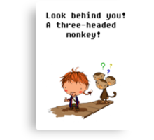 Three headed monkey!! Canvas Print