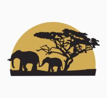 Sunset In Africa Tree And Elephants by Style-O-Mat