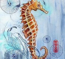 iPhone Case- Seahorse with Sewing Thread by Audrey Takeshta