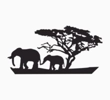 Africa Tree And Elephants by Style-O-Mat