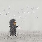 Hedgehog in the Fog fly like butterflies by Marikohandemade