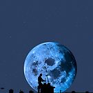 chimney sweep silhouette on the rooftop against full moon by morrbyte