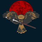 Clasping Hawk, Blood-Red Moon by KaisCanvas