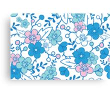 Blue pink kimono flowers pattern Canvas Print