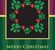 Merry Christmas Pet Paw Print Wreath Card by NestToNest