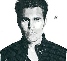 Paul Wesley Pencil & Ink Sketch by chrisjh2210