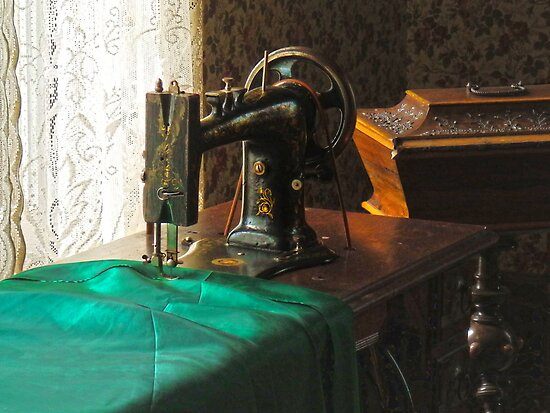 Vintage Sewing Machine Near Window by Susan Savad