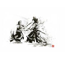 Samurai wild fight old japan bushido katana painting Photographic Print