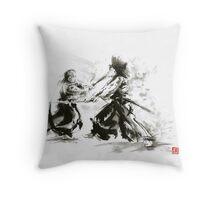Samurai wild fight old japan bushido katana painting Throw Pillow