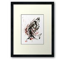 Samurai ronin wild fury bushi bushido martial arts sumi-e original ink painting artwork Framed Print