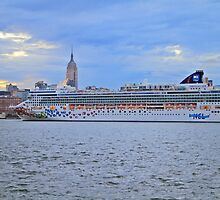 Cruise Ship Norwegian Gem On The Hudson Rv. Manhattan In The Background by pmarella