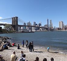 A Beach in Brooklyn, Brooklyn Bridge, Brooklyn Bridge Park, Brooklyn, New York  by lenspiro