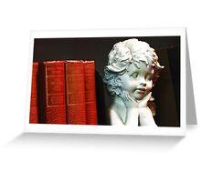 Angel on a bookshelf Greeting Card