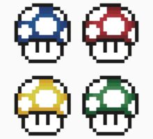 8-Bit 1-Up Mushrooms ×4 by csyz ★ $1.49 stickers