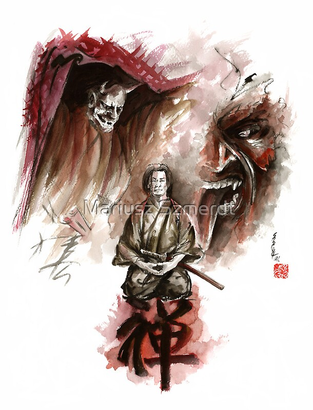 Samurai ronin zen meditation deamons of mind martial arts sumi-e ...: www.redbubble.com/people/mariuszszmerdt/works/10956682-samurai...