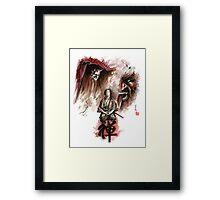 Samurai ronin zen meditation deamons of mind martial arts sumi-e original ink painting artwork Framed Print