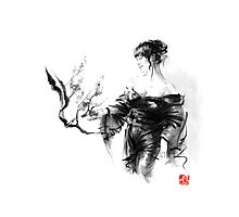 Geisha Japanese woman in kimono cherry blossom original Japan painting art Photographic Print